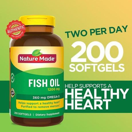 Fish Oil 1200mg/ Омега-3 360mg/ EPA - 360mg/ DHA - 240mg 200шт USA