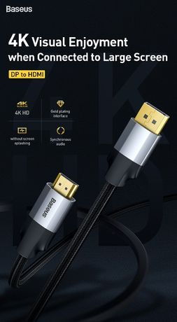 Baseus Enjoyment Series DP Male to 4K HDMI Male Adapter Cable