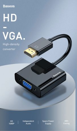 Baseus HUB HDMI to VGA HD Converter /With/Without MicroUSB + 3.5mm AUX