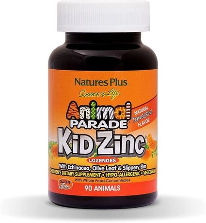 Цинк для детей, Kid Zinc, Nature's Plus, Animal Parade, 90 шт