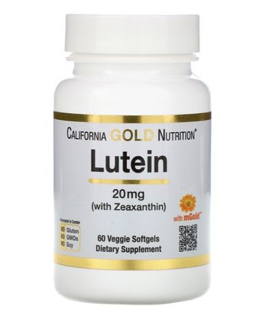 California Gold Nutrition, Лютеин(Lutein) 20 мг, 60кап США